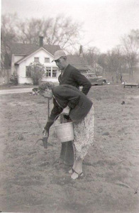 Grandpa and Grandma Crook Planting Potatoes